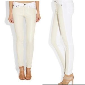 Rag & Bone Hyde Leather Panel Skinny Jeans